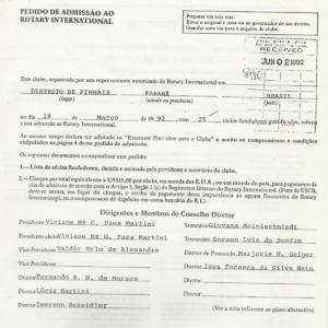 conselho diretor e pedido de admissao em Rotary