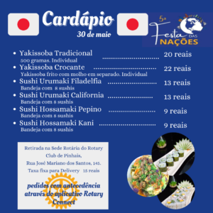 Cardapio japao com data